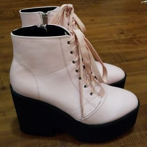 Pink Platform Boots size 8